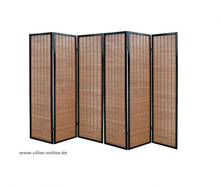 paravent raumteiler takeshi 6 tlg mahagoni stellwand ebay. Black Bedroom Furniture Sets. Home Design Ideas