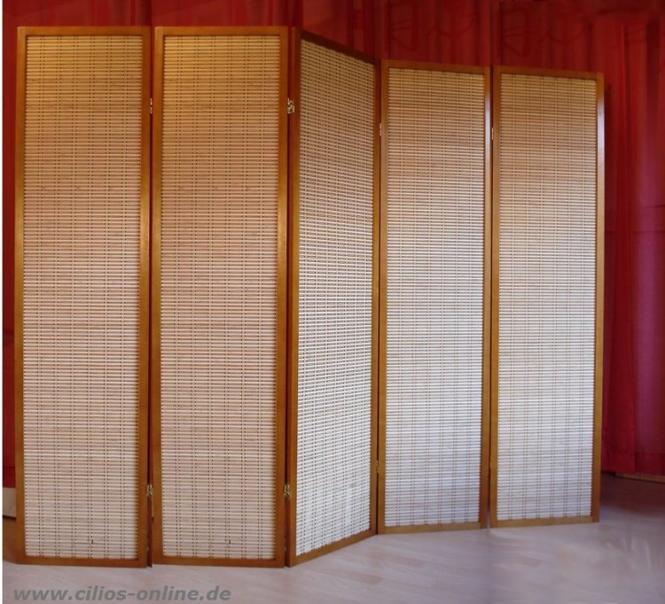 Paravent takako kirsche bambus trennwand 5 teilig ebay - Trennwand bambus ...