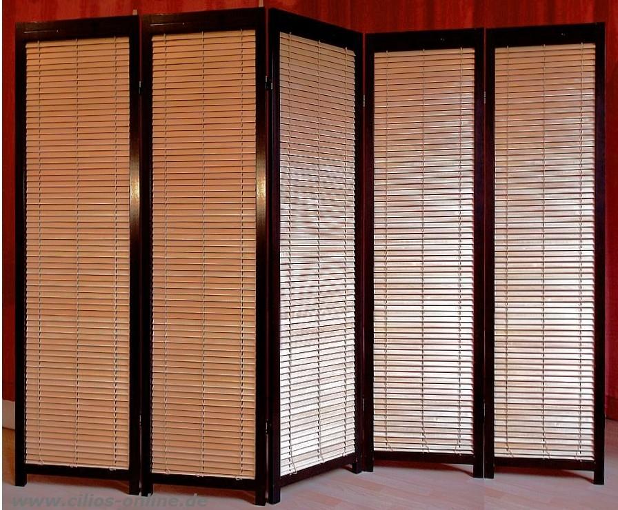 lamellen paravent takehiko 5 raumteiler mahagoni ebay. Black Bedroom Furniture Sets. Home Design Ideas