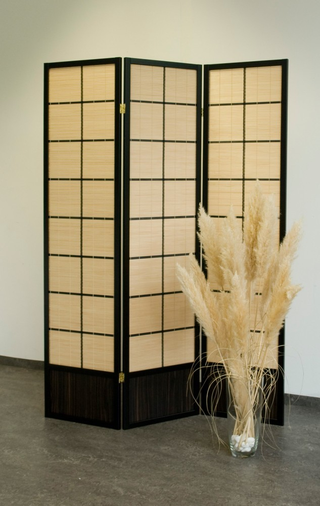 paravent bamboo 3 tlg raumteiler bambus optik neu ebay. Black Bedroom Furniture Sets. Home Design Ideas