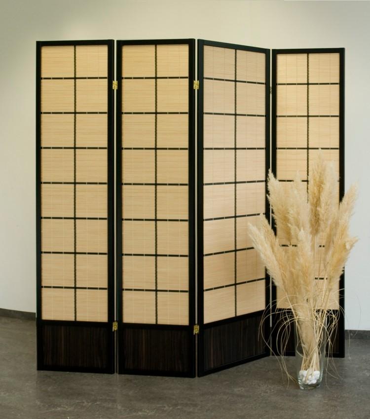 paravent mit regal jive 180x140x30 cm shabby weiss 4 teilig holz raumteiler neu ebay. Black Bedroom Furniture Sets. Home Design Ideas