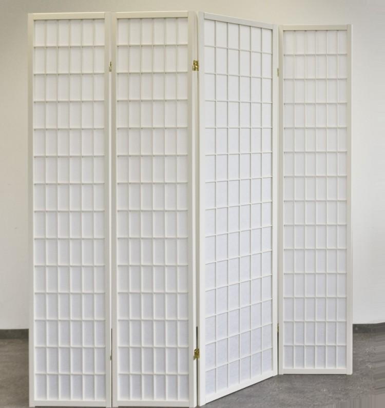 Paravent-White-Style-Creme-4-tlg-Shoji-Raumteiler-Neu