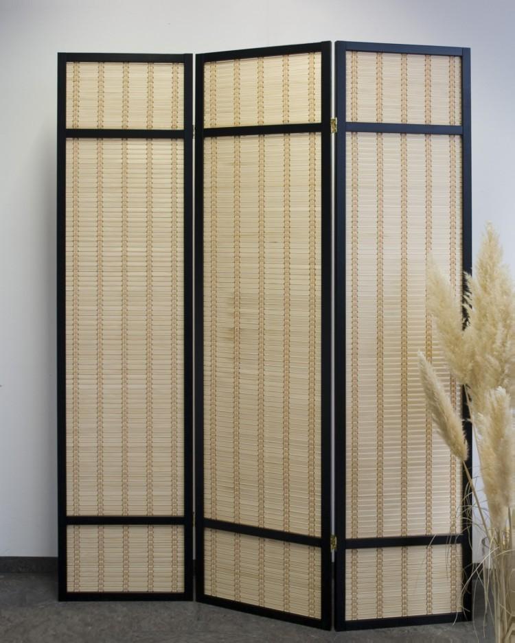 Paravent Wuh Black Style 3 Raumteiler Trennwand Bambus Sichtschutz schwarz  eBay