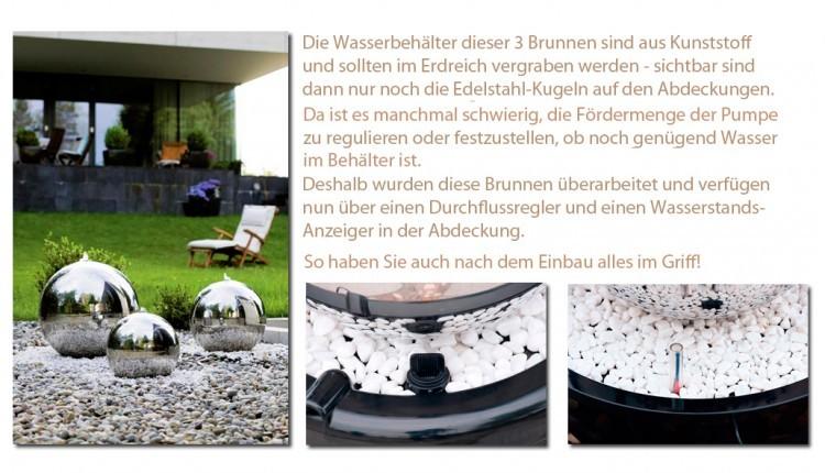 seliger edelstahl gartenbrunnen kugelbrunnen set mit led. Black Bedroom Furniture Sets. Home Design Ideas