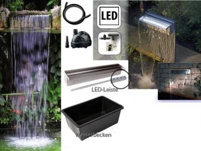 teich und wassertechnik aquafall starter kit 600 led wasserfall set bis ca 50 00 fallhoehe inkl. Black Bedroom Furniture Sets. Home Design Ideas