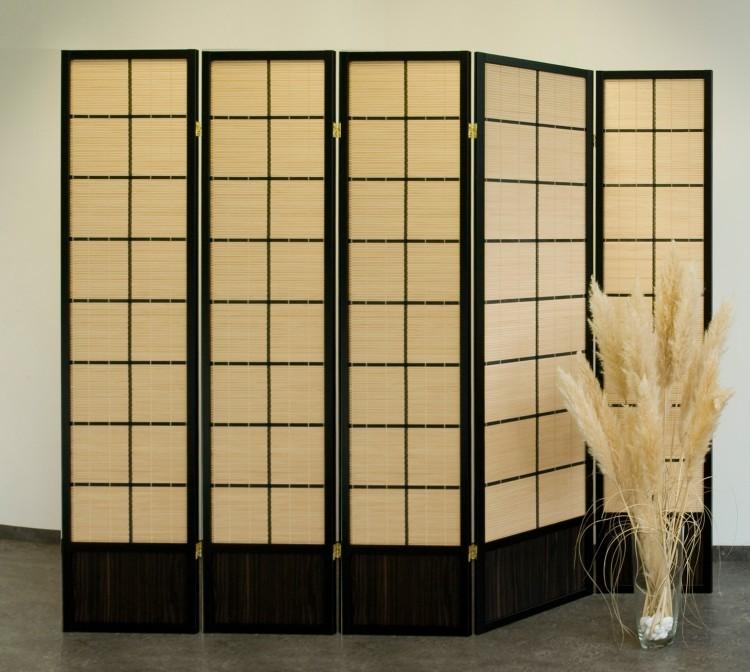 paravent bamboo black 5 tlg bambus optik raumteiler neu ebay. Black Bedroom Furniture Sets. Home Design Ideas